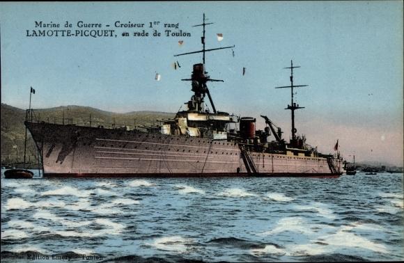 Ak Toulon Var, Französisches Kriegsschiff, Lamotte Picquet, Croiseur de 1er Rang, en rade