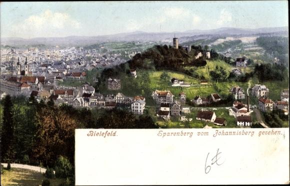 Ak Bielefeld Nordrhein Westfalen, Sparenberg vom Johannisberg gesehen, Panorama