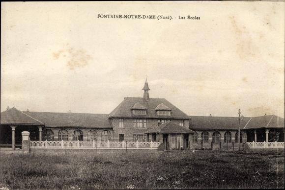 Ak Fontaine Notre Dame Nord, Les Ecoles, Blick auf die Schule