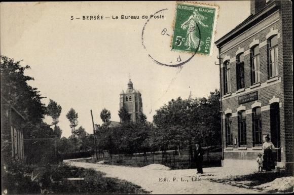 Ak Bersée Nord, Le Bureau de Poste, Straßenpartie mit Blick auf das Postamt