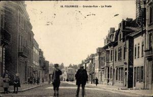 Ak Fourmies Trieux Nord, Grande Rue, la Poste, Straßenpartie am Postamt