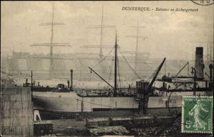 Ak Dunkerque Nord, Bateaux en déchargement, Segelschiff und Dampfer im Hafen