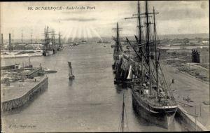 Ak Dunkerque Nord, Entrée du Port, Segelschiffe im Hafen, Sonnenstrahlen