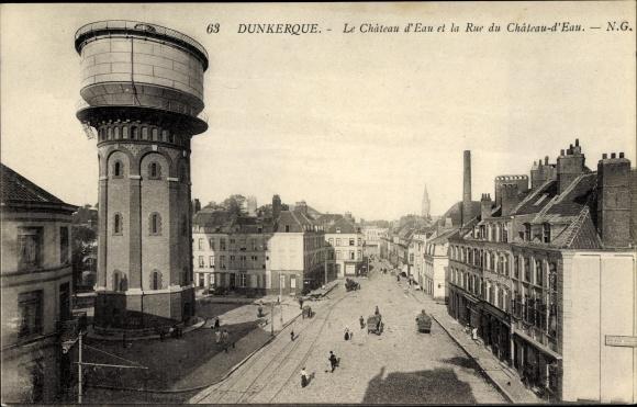 Ak Dunkerque Nord, Le Chateau d'Eau et la Rue du Chateau d'Eau, Wasserturm