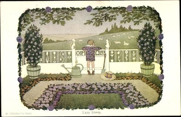 Künstler Ak Willebeek, H., Lazy Sheep, Junge betrachtet eine Schafherde vom Garten aus