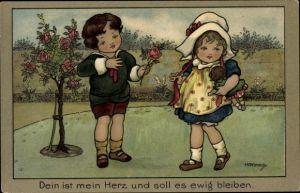 Künstler Ak Hardy, H. F., Dein ist mein Herz und soll es ewig bleiben, Junge und Mädchen