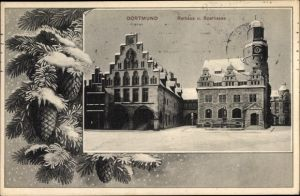 Passepartout Ak Dortmund im Ruhrgebiet, Blick auf Rathaus und Sparkasse im Winter, Tannenzapfen