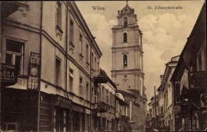 Ak Vilnius Wilna Litauen, St. Johannisstraße, Kirchturm, Geschäfte