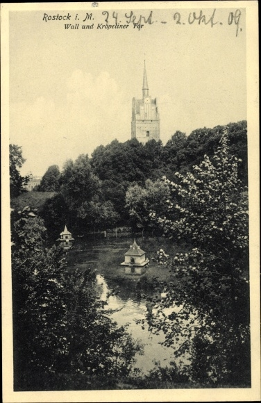 Ak Rostock in Mecklenburg Vorpommern, Wall und Kröpeliner Tor