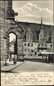 Ak Meißen in Sachsen, Blick nach dem Markt