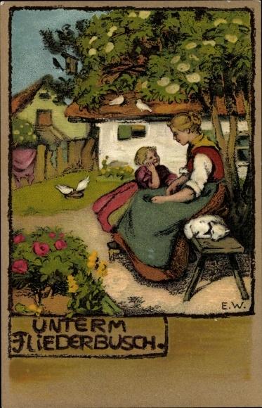 Künstler Ak Unterm Fliederbusch, Dorfleben, Meissner und Buch 1329, Mutter mit Kind