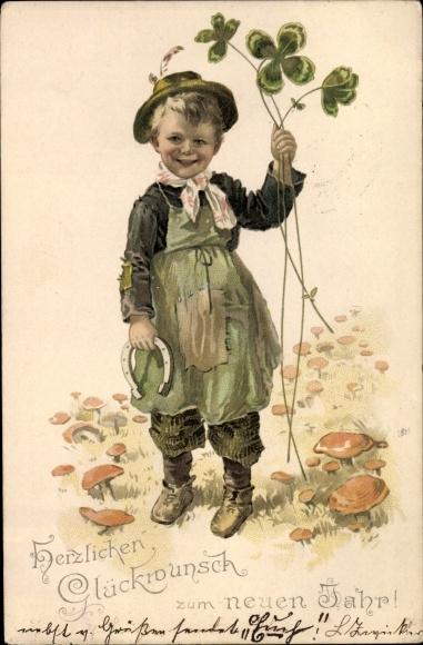 Litho Glückwunsch Neujahr, Kleiner Junge mit Kleeblättern und Hufeisen in der Hand, Pilze