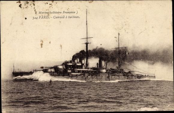 Ak Französisches Kriegsschiff, Paris, Cuirassé à Turbines, Marine Militaire Francaise