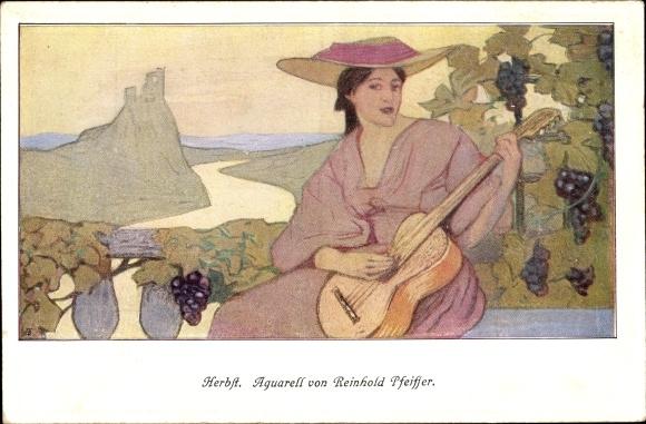 Künstler Ak Pfeiffer, Reinhold, Allegorie Herbst, Frau mit Gitarre, Weintrauben