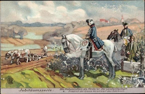 Künstler Ak Die Hohenzollern als Förderer der Landwirtschaft, Friedrich der Große, Oderbruch, Pflug