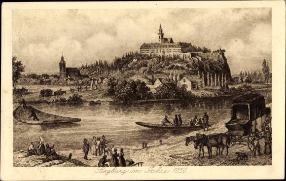Künstler Ak Siegburg im Rhein Sieg Kreis, Historische Ansicht von der Stadt im Jahr 1850