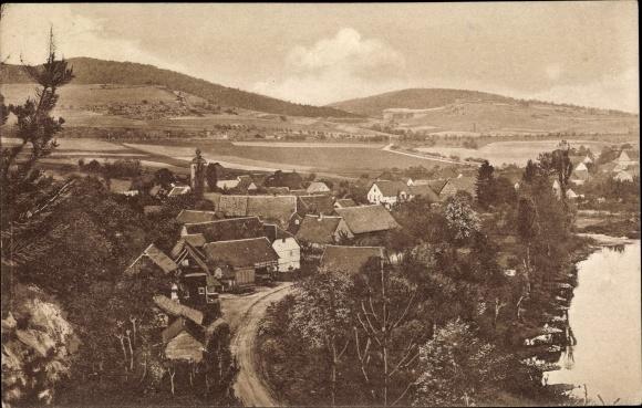 Ak Werleshausen Witzenhausen in Hessen, Blick auf Ortschaft und Umgebung