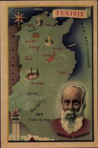 Landkarten Ak Tunesien, Cardinal Lavigerie, Minarett, Beja, Tunis, Gafsa, Sfax, Sousse, Mactar