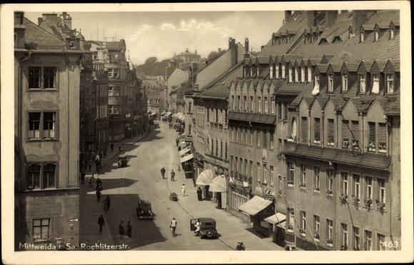 Ak Mittweida in Sachsen, Rochlitzer Straße, Ratskeller, Geschäfte, Wohnhäuser