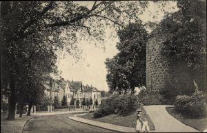 Ak Recklinghausen im Ruhrgebiet, Herzogswall mit Turm, Villen, Mutter mit Kind