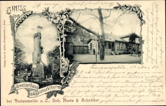 Ak Bad Freienwalde an der Oder, Schweizerhaus und Bismarckturm, Inh. Reetz & Schröder