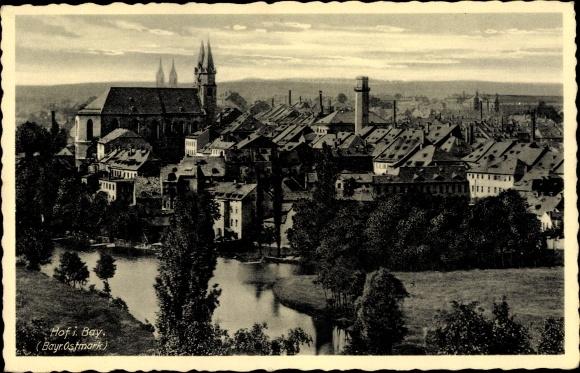 Ak Hof an der Saale Oberfranken Bayern, Blick auf die Stadt 0