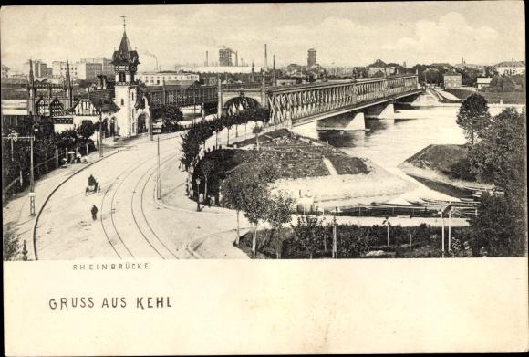 Ak Kehl am Rhein Ortenaukreis Baden Württemberg, Gruß aus Kehl, Teilansicht mit Rheinbrücke