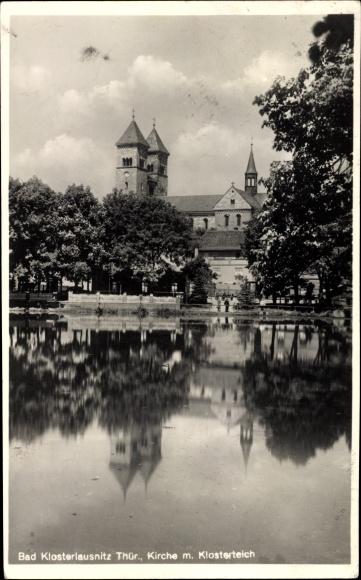Ak Bad Klosterlausnitz in Thüringen, Kirche mit Klosterteich, Wasserpartie