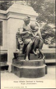 Ak Hamburg Bezirk Mitte Stadtteil Altstadt, Kaiser Wilhelm Denkmal, Gruppe Verkehrswesen
