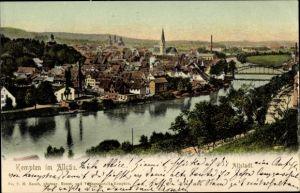 Ak Kempten im Allgäu Schwaben, Blick auf die Altstadt, Fluss