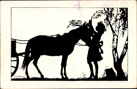 Scherenschnitt Ak Carus, Mädchen schmückt ein Kutschpferd mit Zweigen