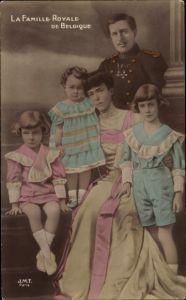 Ak La Famille Royale de Belgique, König Albert I von Belgien mit Familie