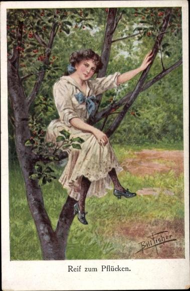 Künstler Ak Fisher, Bill, Reif zum Pflücken, junges Mädchen auf einem Kirschbaum