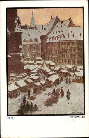 Künstler Ak Biese, Karl, Christmarkt, Blick auf einen Weihnachtsmarkt
