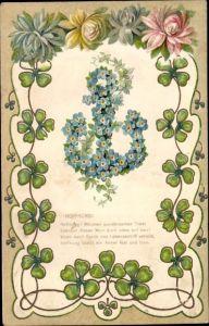 Präge Litho Hoffnung, Welchen wundersamen Trost spendet dieses Wort, Anker, Kleeblätter, Allegorie