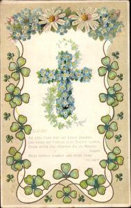 Präge Litho Allegorie, Glaube, An alles Gute hier auf Ereden glauben, Kreuz, Kleeblätter
