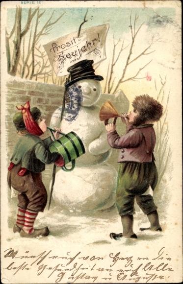 Präge Ak Glückwunsch Neujahr, Schneemann, Kinder, Gießkanne, Trichter