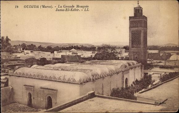 Ak Oudjda Oujda Marokko, La Grande Mosquee Jama El Kebir, Moschee, Blick über die Dächer der Stadt