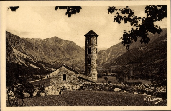 Ak Valls d'Andorra, Campanar romanic de Santa Coloma