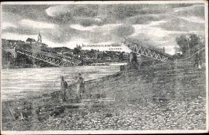 Künstler Ak Hrodna Grodno Weißrussland, Die gesprengte Brücke, I. WK