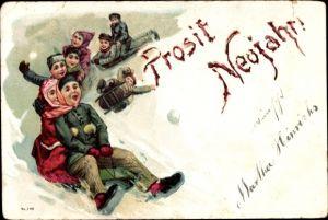 Ak Glückwunsch Neujahr, Schlittenfahrt, Wintersport, Kinder