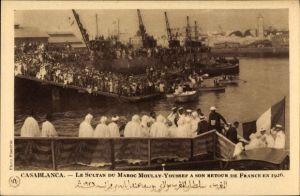 Ak Casablanca Marokko, Le Sultan du maroc Moulay Youssef a son retour de France en 1926