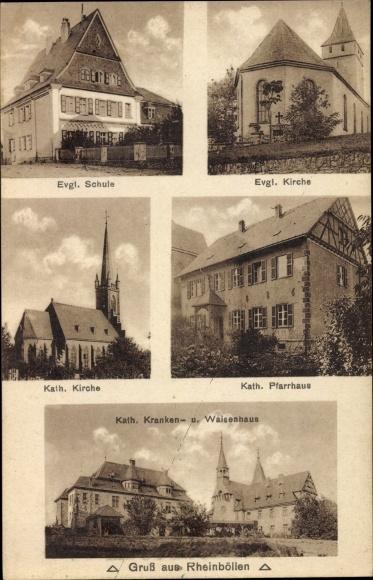 Ak Rheinböllen in Rheinland Pfalz, Evang. Kirche, Kath. Kirche, Kath. Pfarrhaus, Waisenhaus