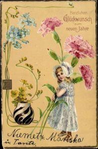 Präge Litho Glückwunsch Neujahr, Mädchen, Nelken, Vergissmeinnichtblüten