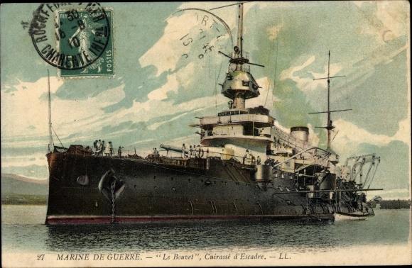 Ak Französisches Kriegsschiff, Le Bouvet, Cuirassé d'Escadre, Marine de Guerre
