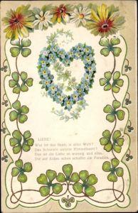Präge Litho Allegorie, Liebe, Herz aus Vergissmeinnichtblüten, Kleeblätter