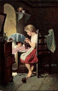 Künstler Ak Meyer, Johann Georg, Das kleine Mütterchen, strickendes Mädchen, Stengel 29086