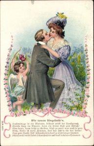 Präge Litho Wir tanzen Ringelreih'n, küssendes Liebespaar, Amor mit Pfeil und Bogen, Rosenblüten