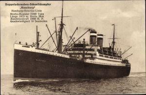 Ak Dampfschiff Hamburg, HAPAG, Doppelschrauben Schnelldampfer