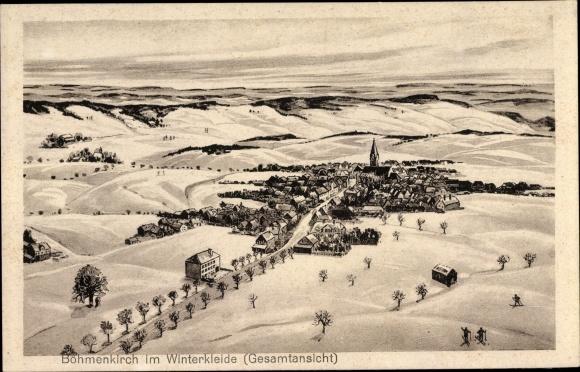 Künstler Ak Böhmenkirch in Baden Württemberg, Gesamtansicht vom Ort, Winter